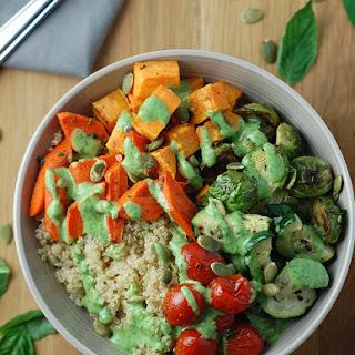 Roasted Vegetable Quinoa Bowls with Basil Yogurt Dressing