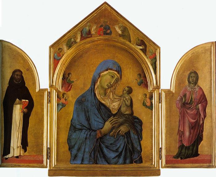 Duccio di Buoninsegna (c. 1260-1318), Trittico con la Madonna col Bambino tra i santi Domenico e Aurea di Ostia, (Triptiek van Londen), 1300 circa, Londra, National Gallery