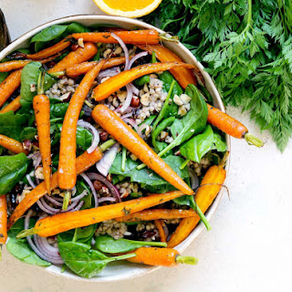 Roasted Carrots with Buckwheat & Spinach.