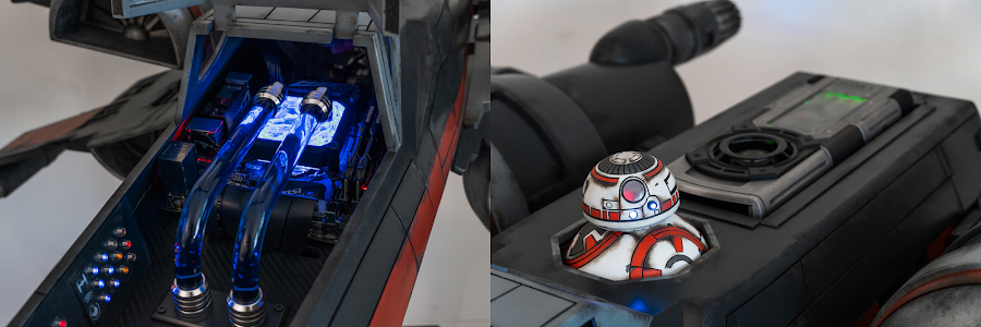 Stefan incorporated the water-cooling system and the graphics card into the design of the X-Wing - the engines also hide the cooling fans!
