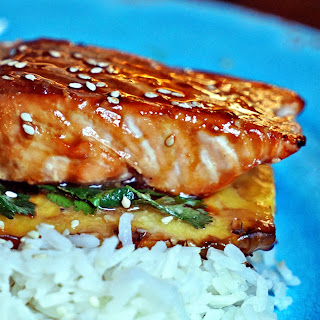 Teriyaki Glazed Grilled Salmon on Pineapple Planks.