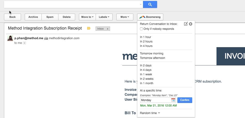 Using Boomerang with Gmail