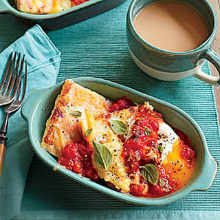 Country Ham and Gouda Grit Cakes with Tomato Gravy.