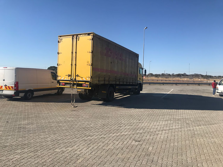 The truck that was found to be carrying 87 illegal immigrants outside Polokwane.