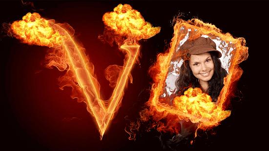 Fire Text Gif Photo Frame Editor - náhled