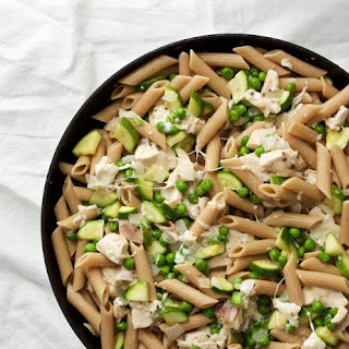 Cheesy Pasta With Rotisserie Chicken, Zucchini And Peas