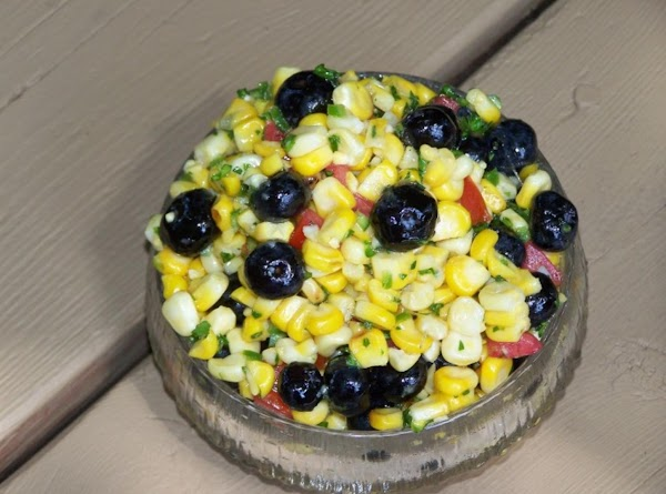 Slightly Charred Spicey Corn With Bluberry Relish Recipe