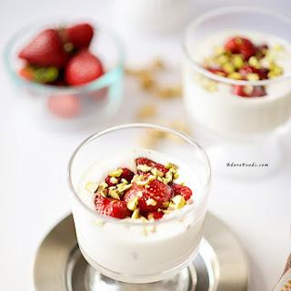 Roasted Strawberries with Whipped Ricotta Yoghurt Cream.