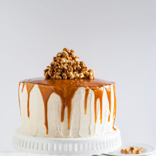 Vanilla Bean Cake with Bourbon Soaked Peach Compote and Spicy Caramel Popcorn