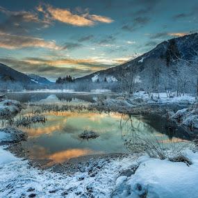 by Bor Rojnik - Landscapes Sunsets & Sunrises ( clouds, reflection, national park, sky, winter, cold, triglav national park, slovenia, sunrise, zelenci,  )