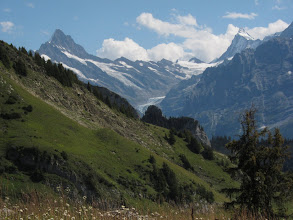 Photo: ... and to the right of the Schreckhorn, the Finstraarhorn (14,022 ft.) and its glacier.