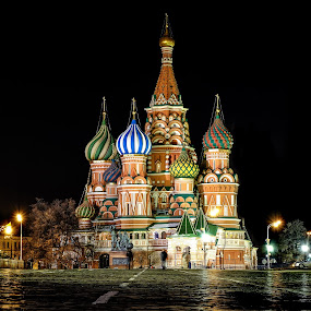 Red square by Romano Alberto Basso - City,  Street & Park  Historic Districts ( red square, russia, cattedrale, moscow, basilio, cathedral, basil, saint, nightscape )