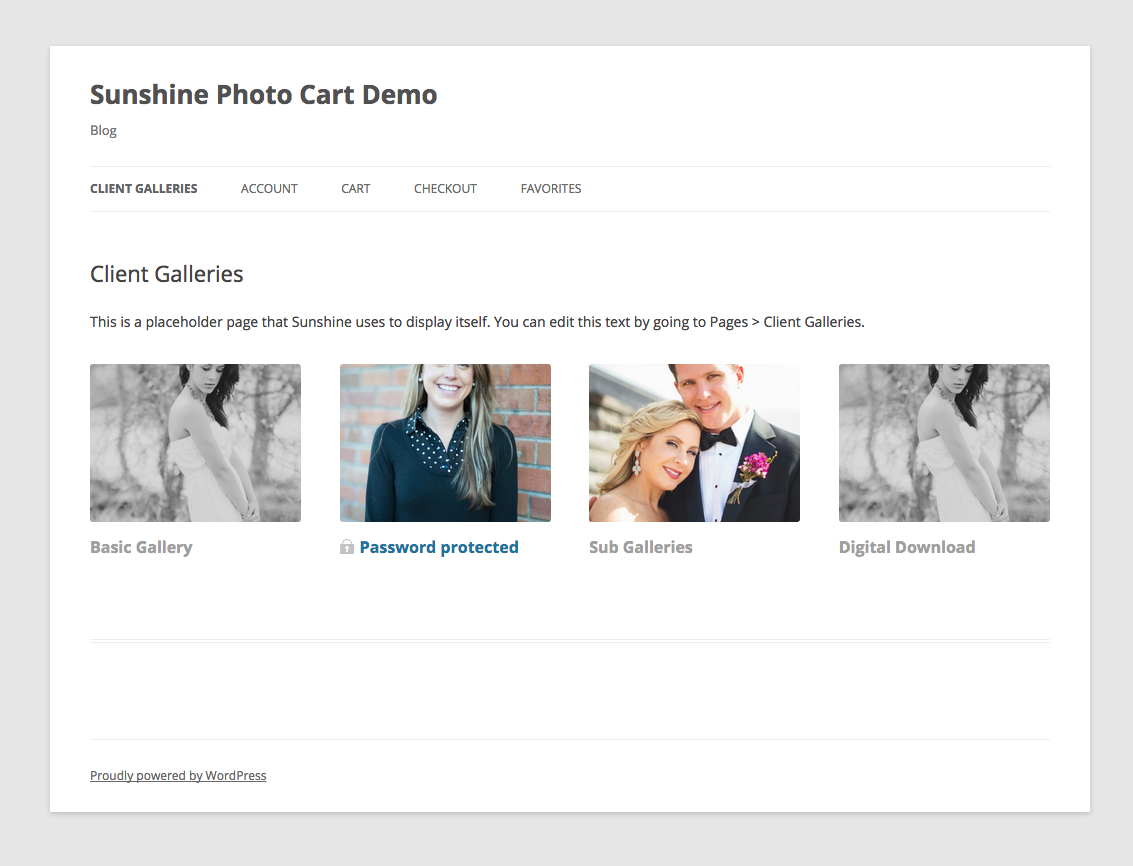 sunshine photo cart password gallery display demo