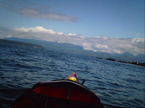Photo: Rounding the north tip of Texada Island with Powell River and the BC mainland visible in the distance.