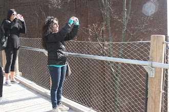 Photo: Leena on the Squibb Park Bridge.