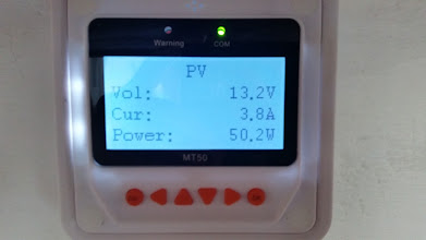 Photo: [Device replaced with a Victron unit now] MT50 Remote Meter Solar Panel Voltage screen