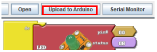 A diagram of uploading the Cardublock Edu program to Arduino.