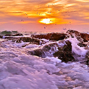 { Sunset Beach ~ waves upon the rocks ~ 15 August }  by Jeffrey Lee - Landscapes Waterscapes ( { sunset beach ~ waves upon the rocks ~ 15 august } )