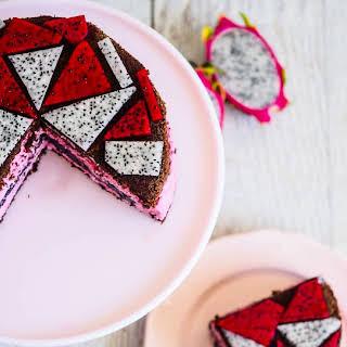 Dragon Fruit & Raspberry White Chocolate Mousse Cake.