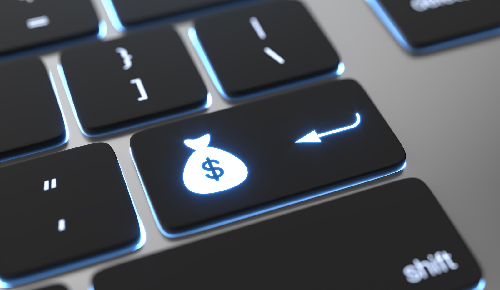 selling covered calls: dollar sign on keyboard close up