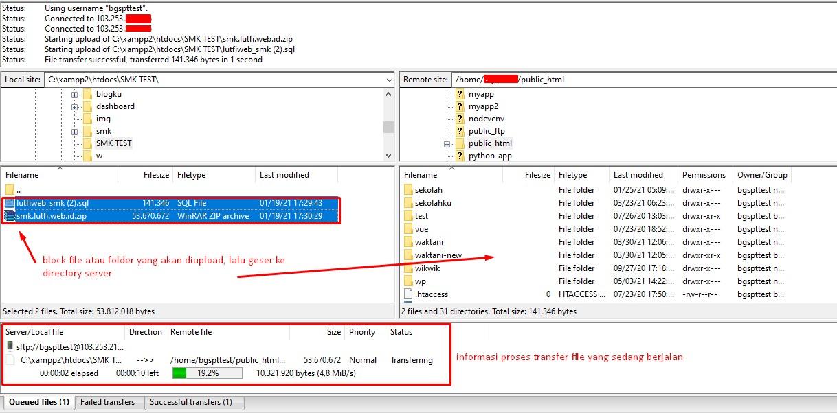 Test upload dan download dengan SFTP adalah