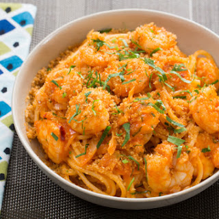 Spicy Shrimp Spaghetti with Cabbage & Toasted Breadcrumbs.