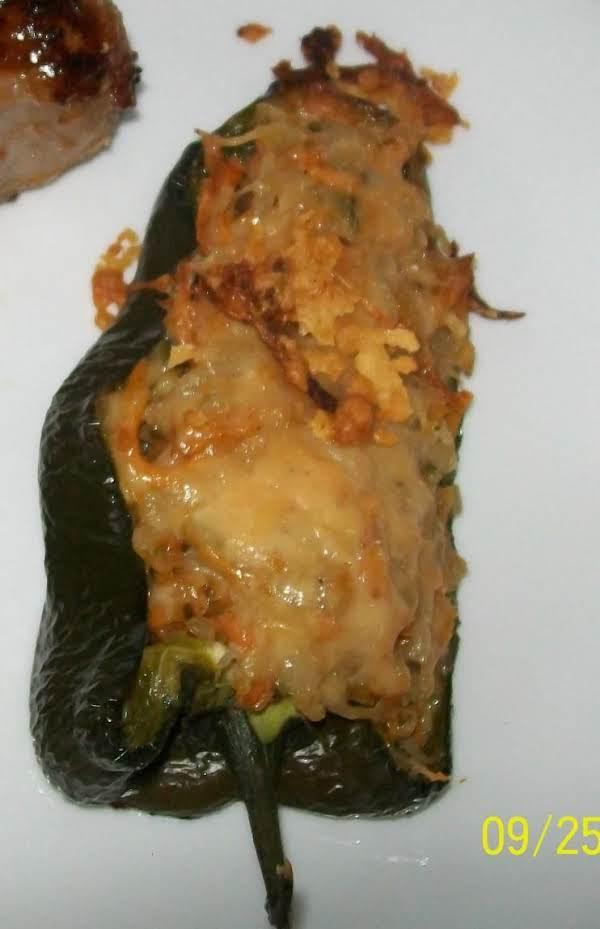 Sweet Potatoes And Zucchini Stuffed Poblano's