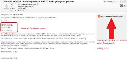 Mahnung Per Mail Mit Virus Bzw Schadsoftware Tantowerwordpressde