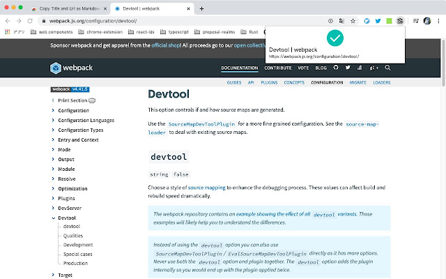 Copy Title and Url as Markdown Style