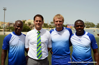 Photo: Leone Stars Coaching Staff before their June 2013 World Cup Qualifier with Cape Verde.  L-R John Keister (Asst.) Johnny McKinstry (Head Coach), Tom Harris (Asst.) Tamba Moses (Goalkeeping Coach). [Cape Verde, June 2013 (Pic: Darren McKinstry)]