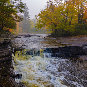 Subtle Autumn Splendor by Christopher Burnett - Landscapes Waterscapes ( michigan, upper peninsula, waterfall, pwcautumn, canyon falls, autumn color, river, fall color )