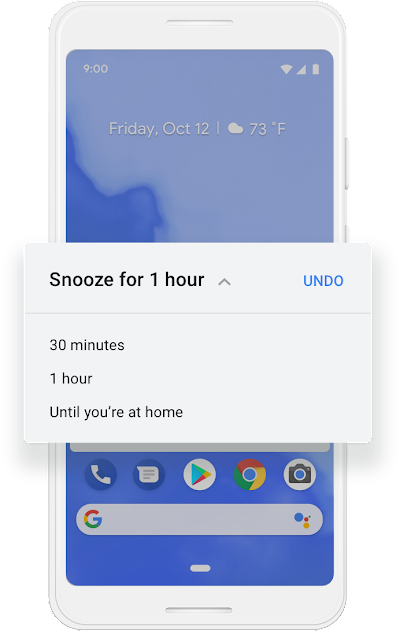 A screen on a Google phone showing an option to Snooze notifications for 30 minutes, one hour, or until the user is at home.