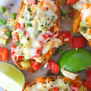 Twice Baked Chicken vegetables sweet potatoes.