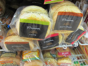 """Photo: Publix brand also have a Premium line of bagels with artisan flavors. Still, the packaging is just so """"blah!""""  Is that a way to save money?"""