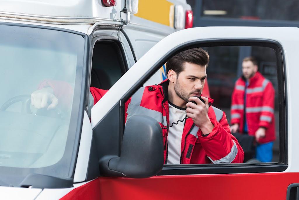 EMT in ambulance