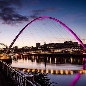Millenium Pink by Nigel Hepplewhite - Buildings & Architecture Bridges & Suspended Structures ( reflection, sunset, beautiful, newcastle, pink, bridge )