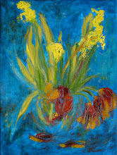"""Photo: Because the flowers, which I was given exactly a week ago, are ready for the compost, this is my last painting of these tulips and daffodils. It is quite abstract. Likely it's mostly finished, except for some minor tinkering maybe tomorrow.   Tulips and Daffodils #4, 12"""" x 16"""", an acrylic base, with the flowers in oils."""