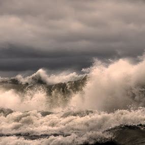 Nasty Lake Superior by Marilyn Magnuson - Landscapes Waterscapes ( waves, storm on lake, dark clouds, lake superior, storm )