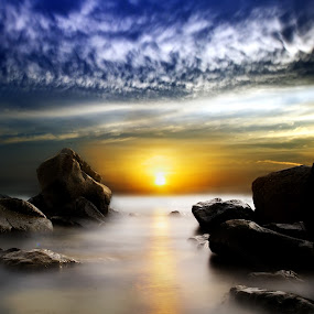 The Sunset by Mohamad Sa'at Haji Mokim - Landscapes Sunsets & Sunrises ( sunset, sea, rock, slow shutter, sun )