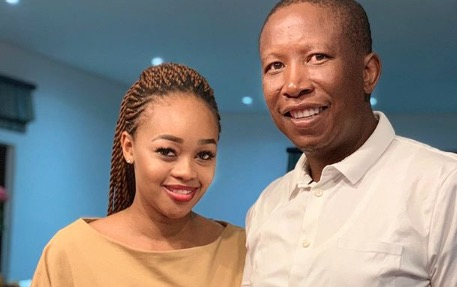 Julius Malema with his wife Mantwa. The EFF leader said he was hoping to add a baby girl to his family.
