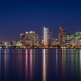 Reflections of the night by Alvin Simpson - City,  Street & Park  Skylines ( san diego, color, city, reflections, night, cityscape, skyline, water,  )