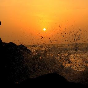 Coloring A Big Splash  by Ezaz Hussain - Nature Up Close Water ( water, beach, rocks )