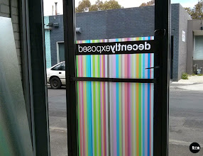 Photo: Decently Exposed | full strength print on frosted vinyl. #doordecal #shopfront #stripes