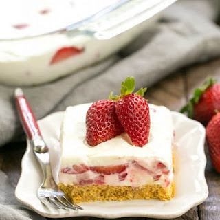 Strawberry Cheesecake Lush Dessert.