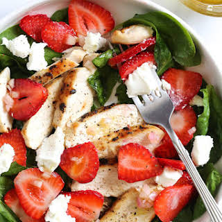 Grilled Chicken Salad with Strawberries and Spinach.