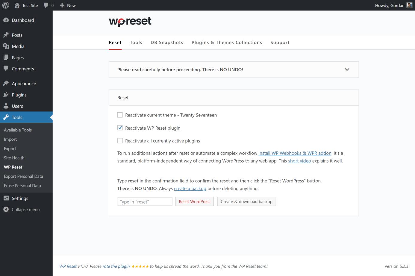 reseting website with wpreset 1