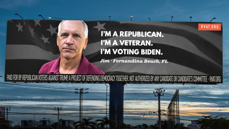 """Billboard by RVAT with the text """"I'm a Republican. I'm a veteran. I'm voting Biden."""" and the feature face of a representative of said quote"""