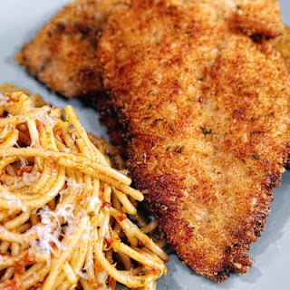 Carolyn's Chicken & Steak Cutlets & Pasta with Sun-Dried Tomato Pesto