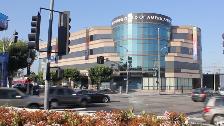 The Writers Guild of America stands above Fairfax and 3rd. Photo: Rick Rhoades.