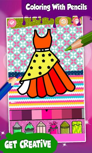 Glitter Dresses Coloring Book For Kids screenshot 5